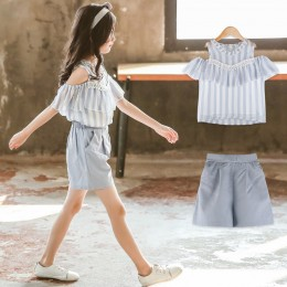 [Pre-order] Kids Girl Blue Stripe Top + Pant 2pc Set