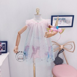 [Pre-order] Kids Girl Unicorn Flying Sleeve Dress
