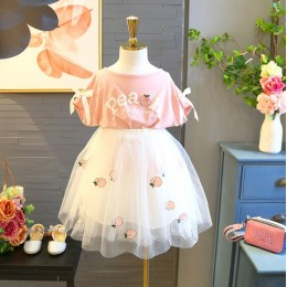 Kids Girl Peach Top + Tutu Skirt 2 pc Set