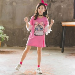 Kids Girl Pink Cat Top Dress