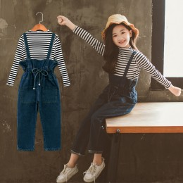 [Pre-order] Kids Girl Stripe Top + Overall Jeans 2pc Set