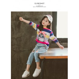 [Pre-order] Kids Girl Colourful Stripe Top + Long Jeans 2pc Set