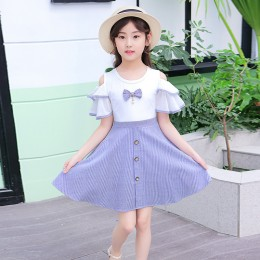 [Pre-order] Kids Girl Off-Shoulder Dress (Purple)