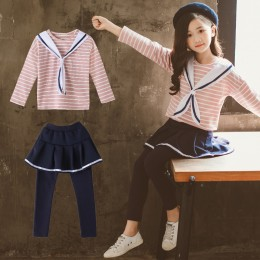 [Pre-order] 8200432 Kids Girl Navy Style Stripe Long Sleebe Top + Skirt Legging Long Pant 2pc Set