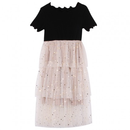 [Pre-order] 8200449 Kids Girl Black Gold Layer Dress