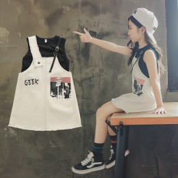 [Pre-order] 8200459 Kids Girl Black Top + White Dress 2pc Sets