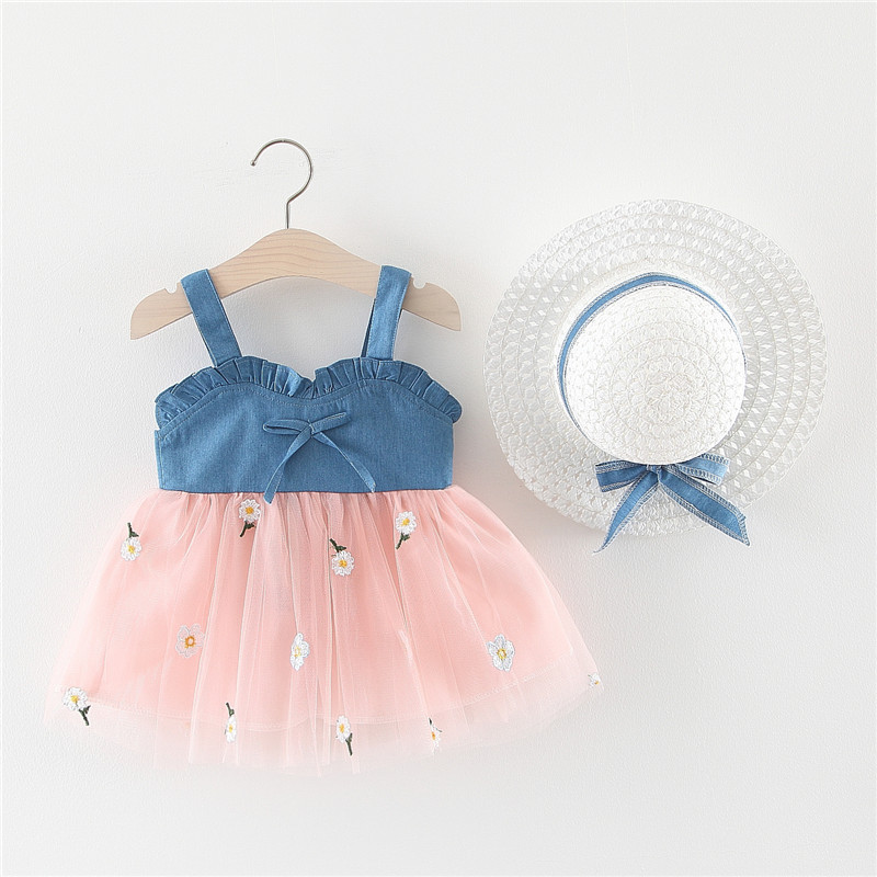 3001768 Baby Toddler Girl Soft Denim Tutu Dress