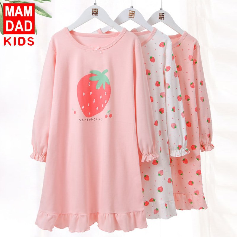 4000332 Kids Girls Strawberry Long Sleeve Pyjamas Dress