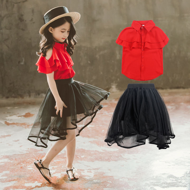 [Pre-order] Kids Girl Off-Shoulder + Mesh Black Skirt 2pc Set
