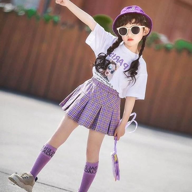 [Pre-order] Kids Girl Top + Purple Plaid Skirt 2pc Set