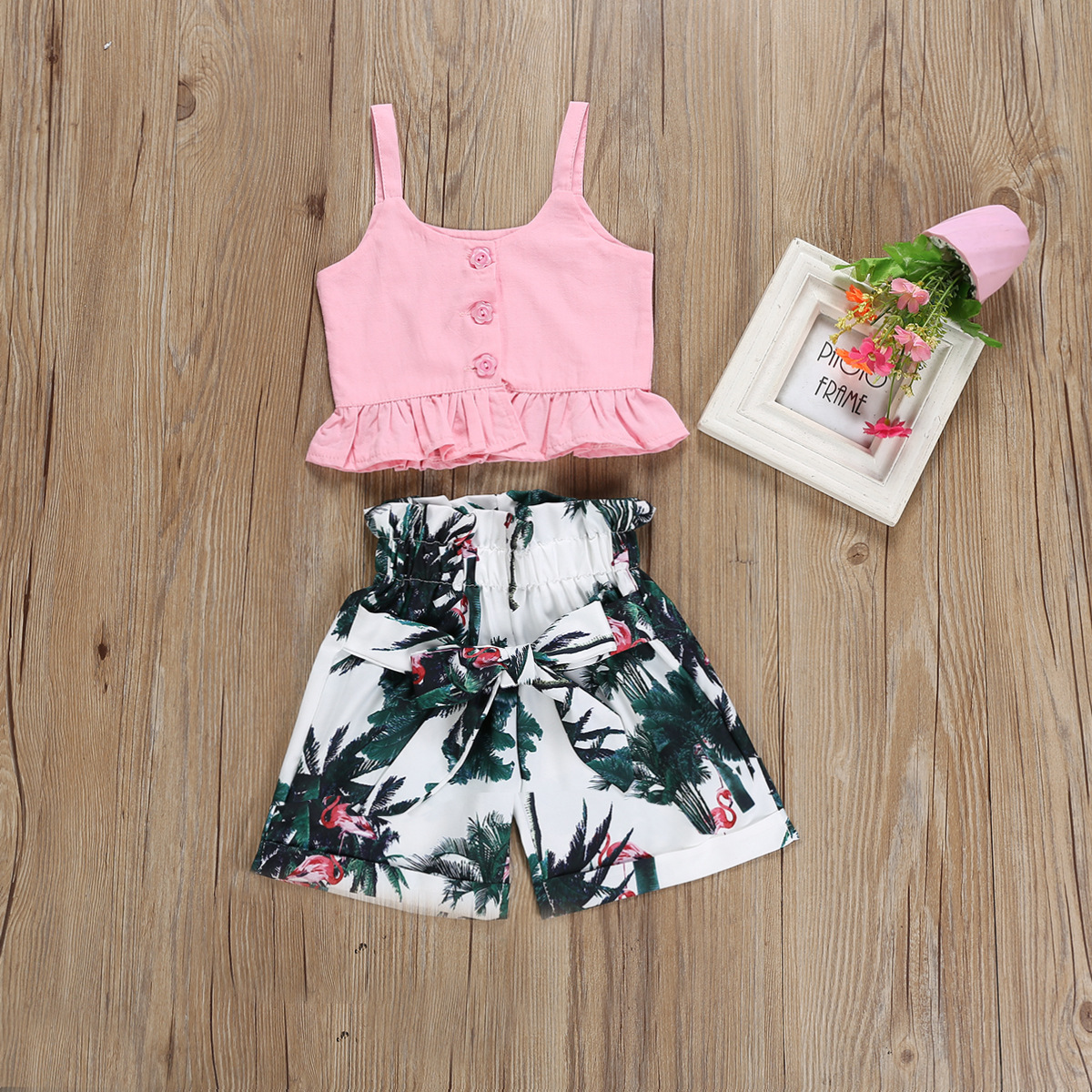 8002192 [Pre-order] Kids Girl Sleeveless Pink Top + Tree Pant 2pc Set